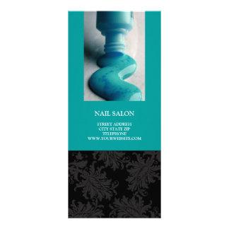 Nail Salon Services Price List {Teal Blue} Rack Card Design