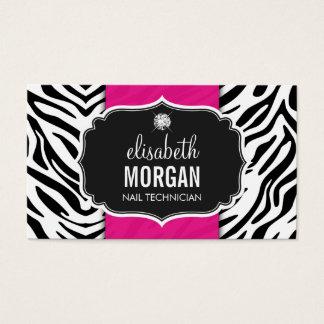 Nail Technician - Beautiful Zebra Print Business Card