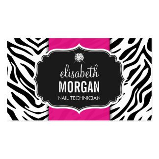 Nail Technician - Beautiful Zebra Print Double-Sided Standard Business Cards (Pack Of 100)