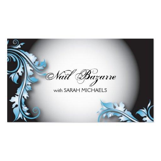 Nail Technician Business Card Bold Fancy Floral