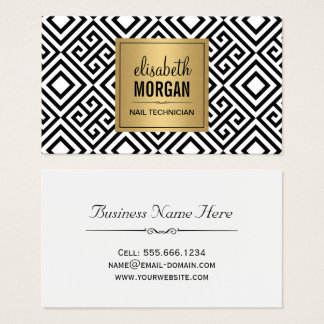 Nail Technician - Classy Gold Abstract Pattern Business Card