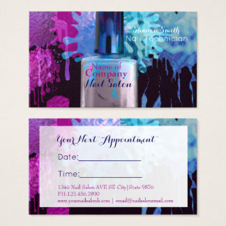 Nail Technician colourful splatter- Appointment Business Card