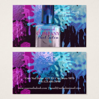 Nail Technician colourful splatter design Business Card