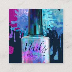 Nail Technician Colourful Splatter Design Square Business Card
