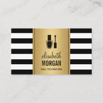 NAIL TECHNICIAN Elegant Gold Black White Stripes Business Card