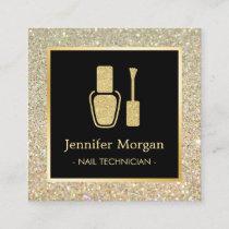 Nail Technician Gold Glitter Polish Bottle Square Business Card