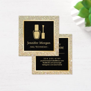 Nail technician business cards templates zazzle nail technician gold glitter polish bottle square business card colourmoves Images
