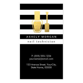 Nail Technician Gold Polish Bottle B&W Stripes Business Card