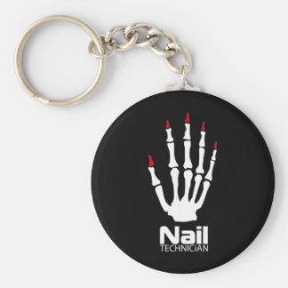 Nail technician basic round button keychain