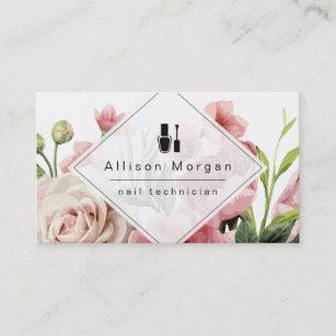 Nail Technician Logo Modern Geometric Chic Floral Business Card