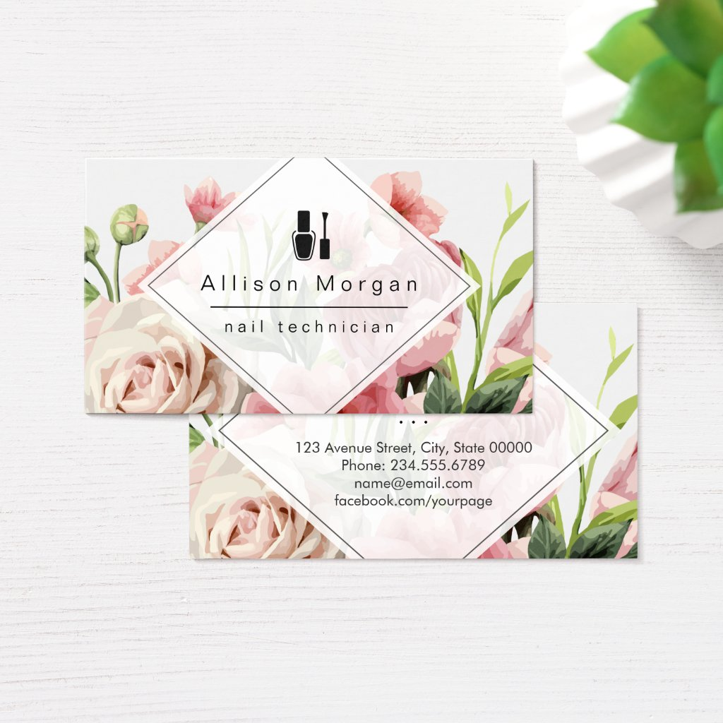 Nail Technician Logo Modern Geometric Chic Floral Business Card
