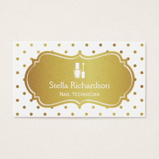 Nail Technician Manicurist - Chic White Gold Dots Business Card