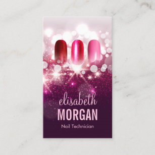Nail Technician Manicurist Pink Beauty Glitter Business Card