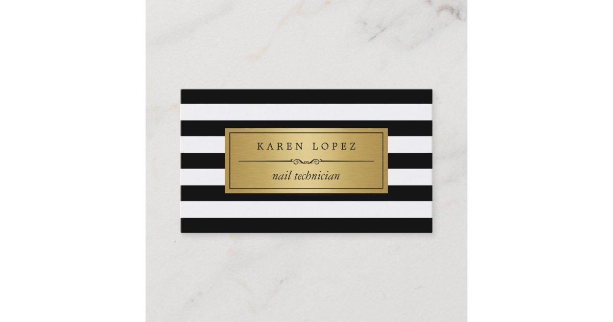 Nail Technician - Modern Black White Stripes Business Card | Zazzle.com