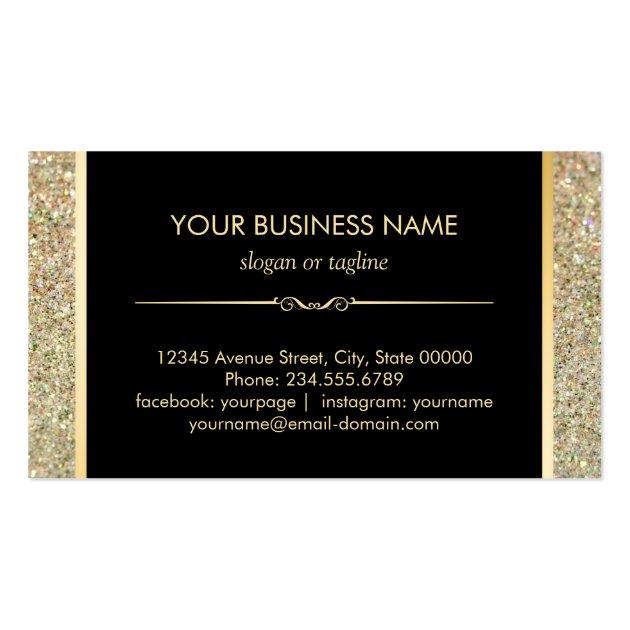 Nail Technician Modern Gold Glitter Polish Bottle Business Card (back side)