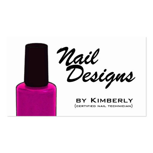 nail technician pink polish business cards - Nail Tech Business Cards