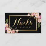 """Nail Technician Salon Black Gold Floral Script Business Card<br><div class=""""desc"""">================= ABOUT THIS DESIGN ================= Nail Technician Salon Black Gold Floral Script Business Card Template. (1) The background color is changeable. All text style, colors, sizes can also be modified to fit your needs. (2) If you need any customization or matching items, please feel free to contact me. (In case...</div>"""