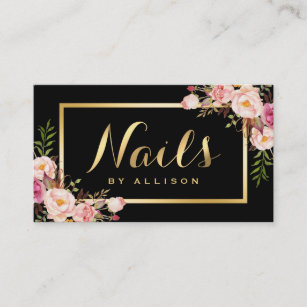 Nail business cards zazzle nail technician salon black gold floral script business card colourmoves