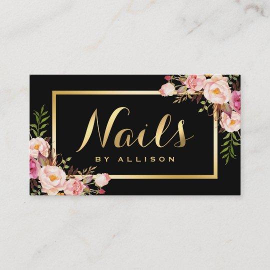 Nail technician salon black gold floral script business card nail technician salon black gold floral script business card colourmoves