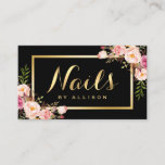 """Nail Technician Salon Black Gold Floral Script Business Card<br><div class=""""desc"""">Nail Technician Salon Black Gold Floral Script Business Card Template.  (1) For further customization,  please click the &quot;customize further&quot; link and use our design tool to modify this template.  (2) If you need help or matching items,  please contact me.</div>"""