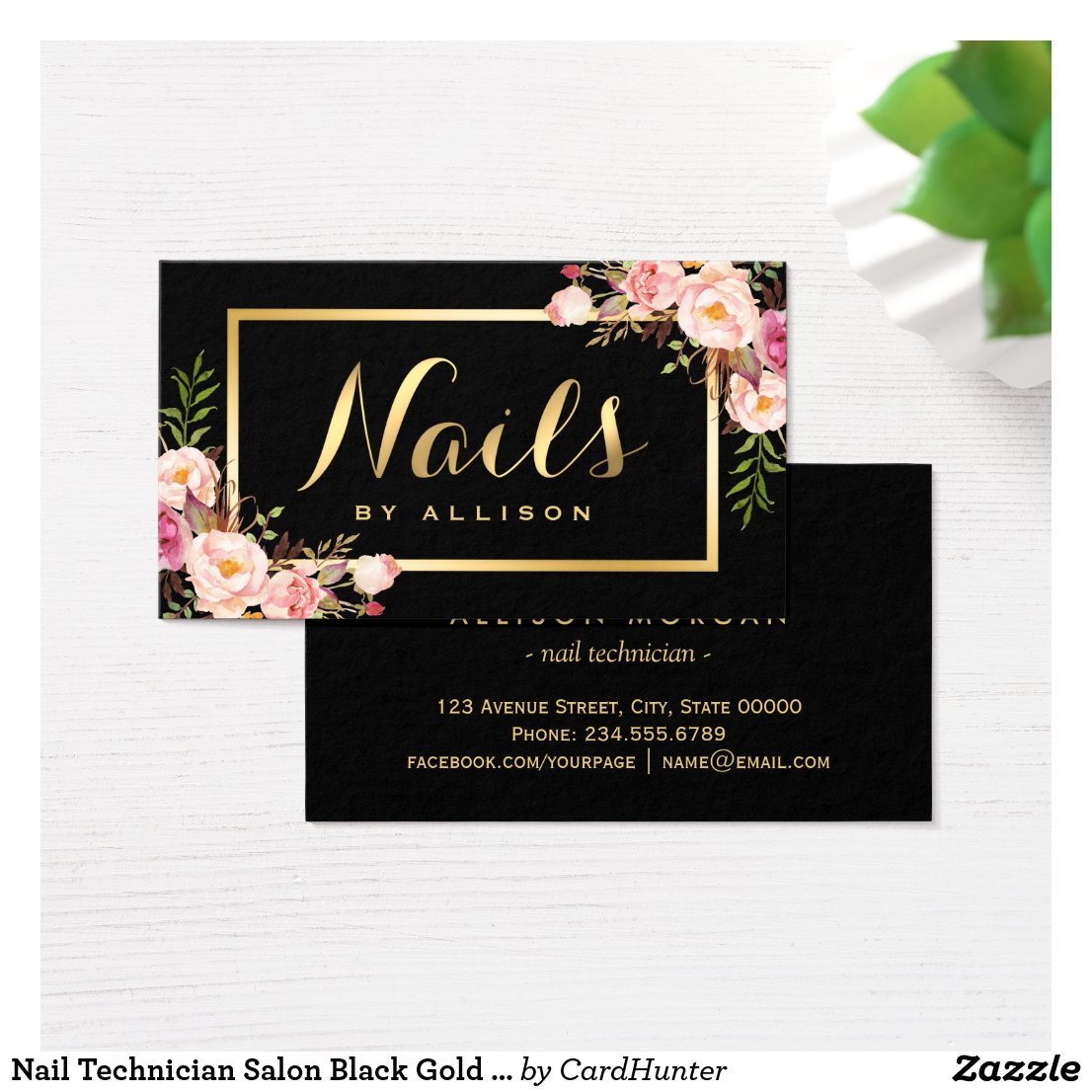 Nail Technician Salon Black Gold Floral Script Business Card