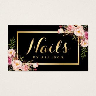 Nail Technician Salon Black Gold Floral Script Business Card