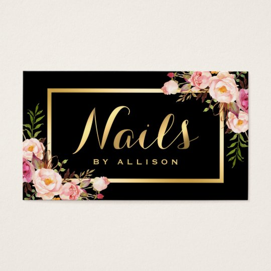 Nail Technician Salon Black Gold Fl Script Business Card