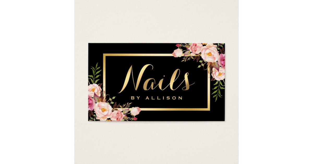 Nail Technician Salon Black Gold Floral Script Business Card ...