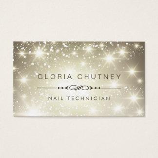 Nail Technician - Sparkling Bokeh Glitter Business Card