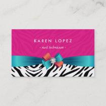 Nail Technician - Trendy Pink Zebra Print Business Card