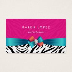 Nail Technician - Trendy Pink Zebra Print Business Card at Zazzle
