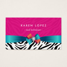 Zebra print business cards templates zazzle nail technician trendy pink zebra print business card reheart Gallery