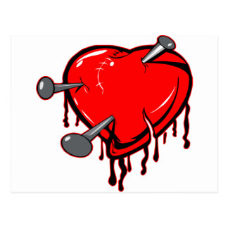Nailed Heart Tattoo Postcard