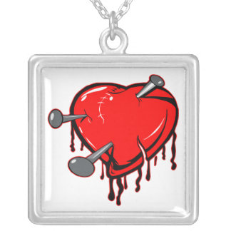 Nailed Heart Tattoo Square Pendant Necklace