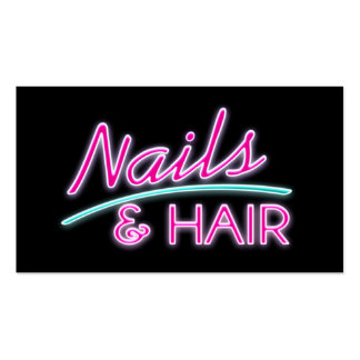 Nails and Hair Neon Business Cards