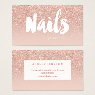 Nails artist modern typography blush rose gold business card