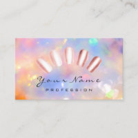 Nails Artist Pink Rose Manicure Pedicure HOLOGRAPH Business Card