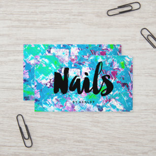 Acrylic nail business cards templates zazzle nails artist typography blue green acrylic brush business card reheart Images