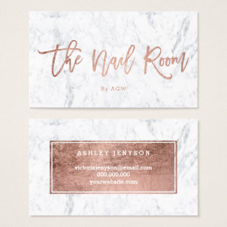 Nails logo elegant rose gold typography marble business card