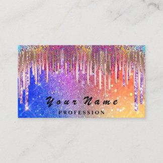 Nails  Makeup Artist Holograph Rainbow Glitters Business Card