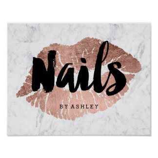 Nails modern lips rose gold typography marble poster