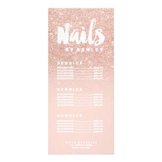 Nails modern typography blush rose gold price list rack card