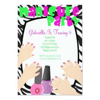 Nails, Nails, Nails Manicure Spa Birthday Party 5x7 Paper Invitation Card