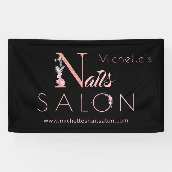 Nails salon custom name floral glitter pink black banner