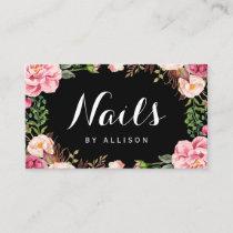 Nails Salon Nail Technician Romantic Floral Wrap Business Card
