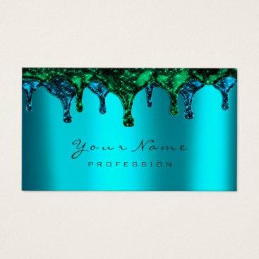Beach Themed Nails Wax Epilation Depilation Ocean Green BluTeal Business Card