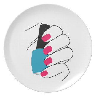 Nails with a nail polish in hand melamine plate