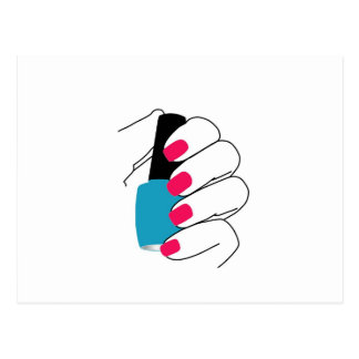 Nails with a nail polish in hand postcard