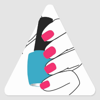 Nails with a nail polish in hand triangle sticker