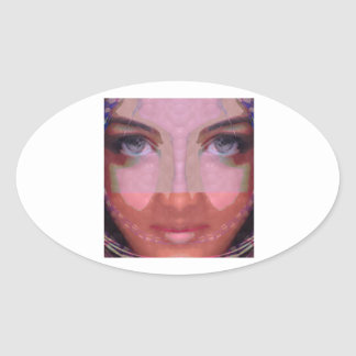 NAINA : DOE Eye n Perfect LIPS Girl Graphics Oval Sticker